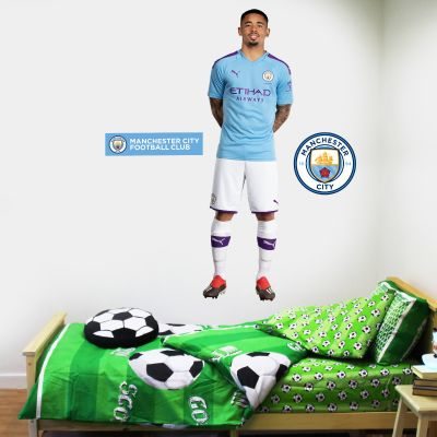 Manchester City FC - Gabriel Jesus 2019 Player Decal + Bonus Wall Sticker Set