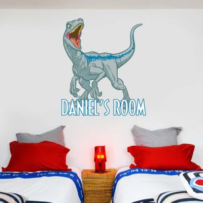 Jurassic World : Fallen Kingdom Velociraptor Dinosaur Personalised Wall Sticker