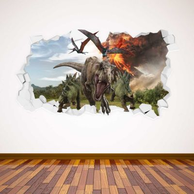 Jurassic World : Fallen Kingdom Dinosaur & Volcano Smashed Wall Sticker
