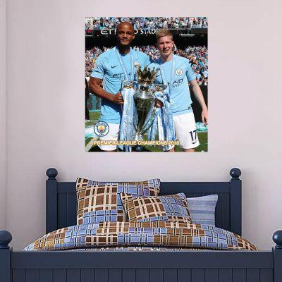 Premier League Champions 2018 - KDB & Kompany Trophy Shot Mural + Wall Sticker Set