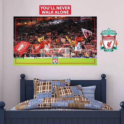 Liverpool Football Club - Anfield European Night (View From The Kop) Wall Mural + LFC Wall Sticker Set