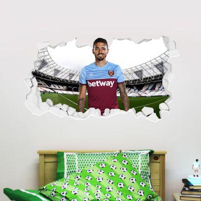 West Ham United Football Club - Manuel Lanzini Smashed Wall Mural + Hammers Wall Sticker Set
