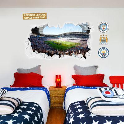 Premier League Champions 2018 - Smashed Etihad Stadium Celebrations Mural + Wall Sticker Set
