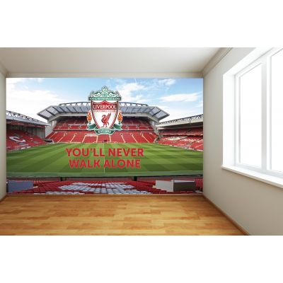 Liverpool FC Anfield Stadium Full Wall Mural - Main Stand Image (YNWA & Crest)