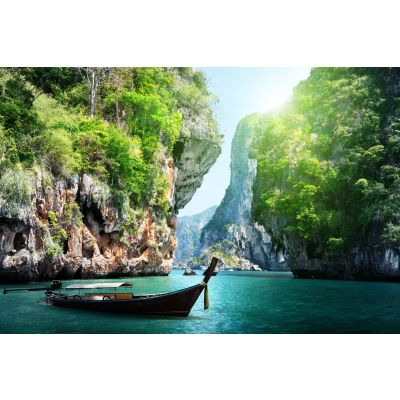 Boat Anchered by Ocean Cliffs Wall Mural