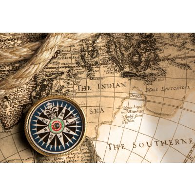 Old Compass & Rope on Vintage Map Wall Mural