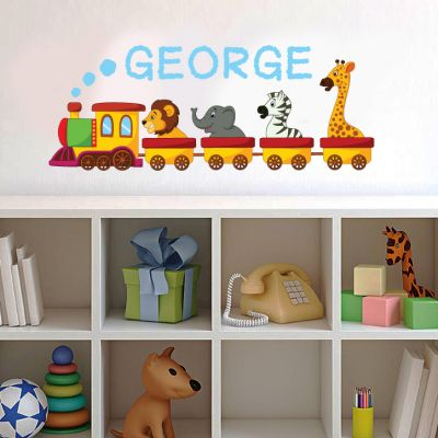 Animal Train and Personalised Name Wall Sticker