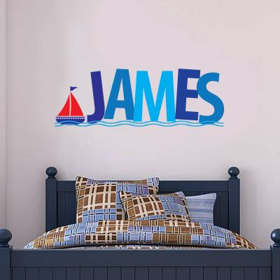 Boat and Personalised Name Wall Sticker