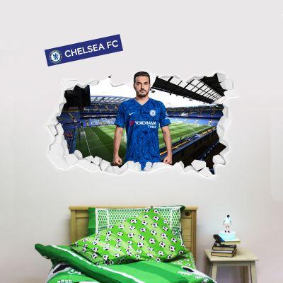 Chelsea Football Club - Pedro Broken Wall Mural + Blues Wall Sticker Set
