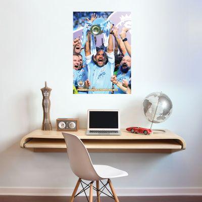 Premier League Champions - Pep Guardiola Lifting Trophy Shot Mural + Wall Sticker Set