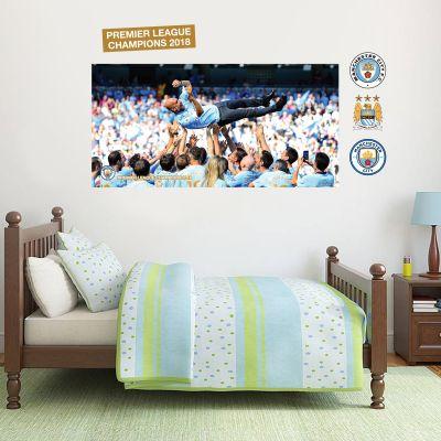 Premier League Champions 2018 - Pep Guardiola In The Air Wall Mural + Wall Sticker Set