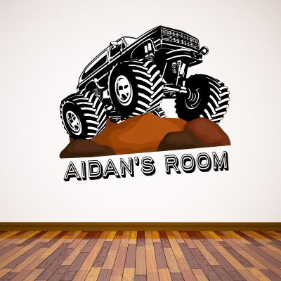 Monster Truck Personalised Name Wall Sticker
