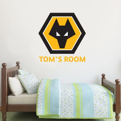 Wolverhampton Wanderers F.C. - Personalised Name & Crest Wall Art + Wolves Wall Sticker Set
