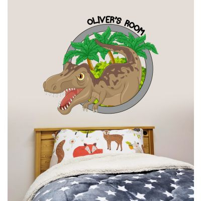 Dinosaur Wall Sticker Personalised Name Dino Circle
