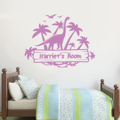 Dinosaur Wall Sticker Personalised Dino Island Sign