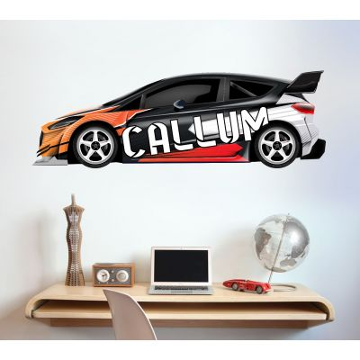 Rally Car Personalised Name Wall Sticker