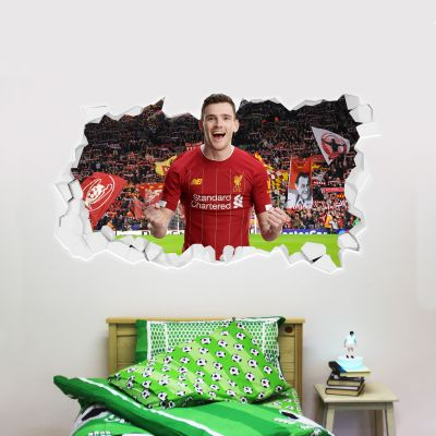 Liverpool Football Club Andrew Robertson Smashed Wall Mural + Badge Decal Set
