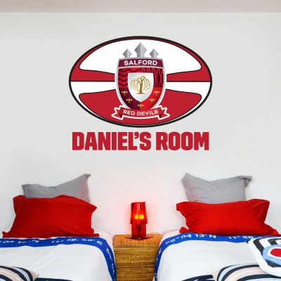 Salford Red Devils Rugby Club Personalised Name Ball Wall Sticker