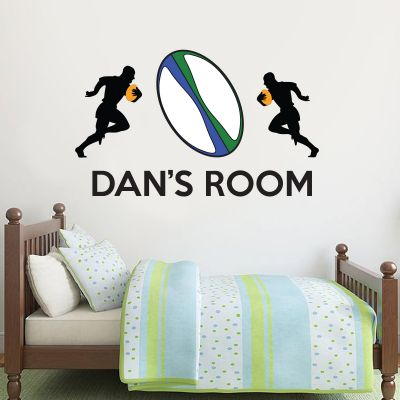 Rugby Players with Ball & Name Wall Sticker