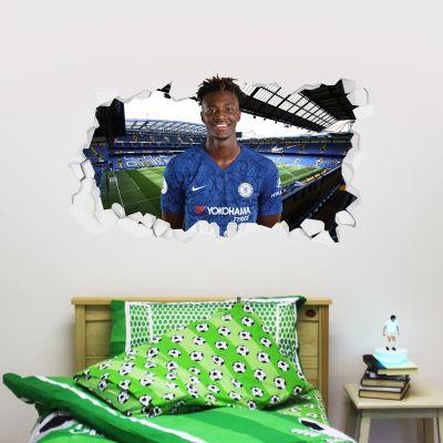 Chelsea Football Club - Tammy Abraham Broken Wall Mural + Blues Wall Sticker Set