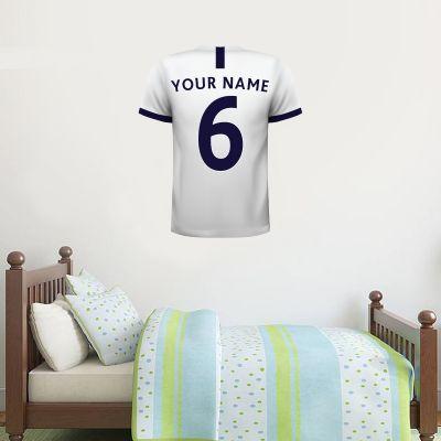 Tottenham Hotspur Football Club - Personalised Football Shirt Wall Sticker 19/20 + Tottenham Hotspur Crest Set