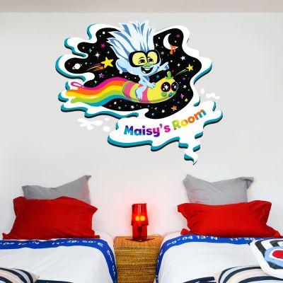 Trolls World Tour - Tiny Diamond Personalised Rainbow Wall Sticker