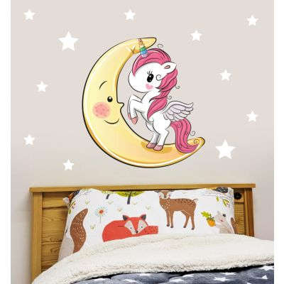 Unicorn Wall Sticker Moon and Stars