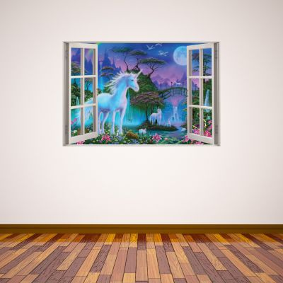 Unicorn Wall Sticker Unicorn Bridge Window