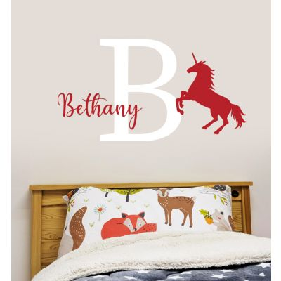 Unicorn Wall Sticker Unicorn Personalised Name and Letter