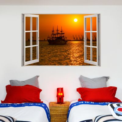 Pirate Wall Sticker Sunset Window