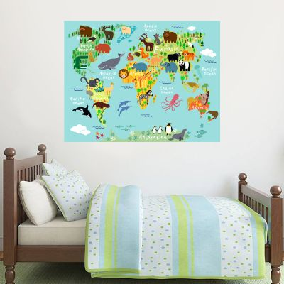 World Map Animals Poster Wall Sticker