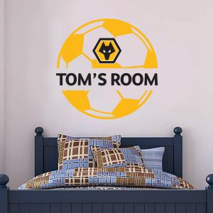 Wolverhampton Wanderers F.C. - Personalised Name & Ball Design Wall Art + Wolves Wall Sticker Set