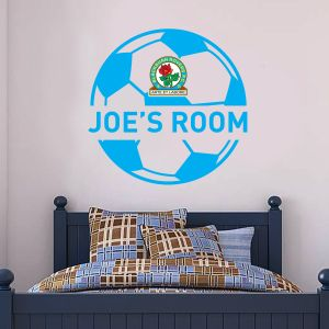 Blackburn Rovers F.C. - Personalised Name & Ball Design + Riversiders Wall Sticker Set
