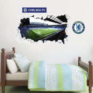 Chelsea Football Club - Smashed Stamford Bridge Stadium Wall Mural + Blues Wall Sticker Set