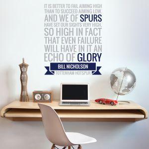Tottenham Hotspur Football Club - 'Echo Of Glory' Quote Wall Sticker Vinyl