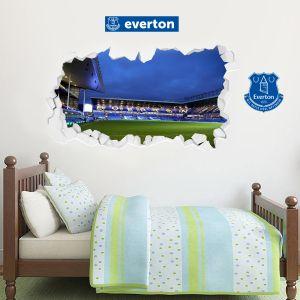 Everton Football Club - Smashed Goodison Park Stadium (Night) + Toffees Wall Sticker Set