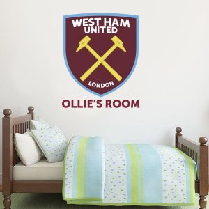 West Ham United Football Club - Hammers Crest with Personalised Name + Wall Sticker Set