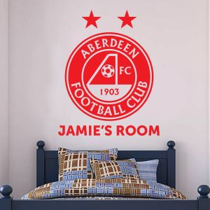 Aberdeen Football Club - Personalised Name & Crest Wall Sticker