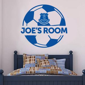 Everton Football Club - Personalised Name & Ball Design + Toffees Wall Sticker Set
