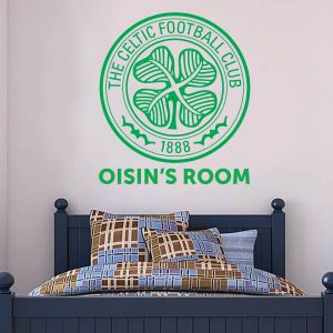 Celtic Football Club - Personalised Crest & Name + Celts Wall Sticker Set