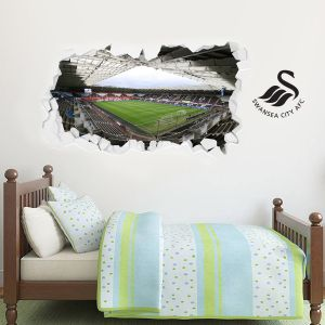 Swansea City Football Club - Smashed Liberty Stadium Wall Mural + Swans Crest Wall Sticker