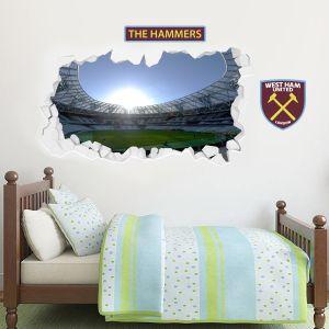 West Ham United Football Club - Smashed London Stadium Wall Mural 1 + Hammers Wall Sticker Set