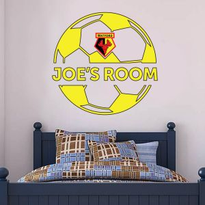 Watford FC - Personalised Name & Ball Design Wall Sticker
