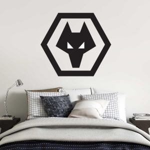 Wolverhampton Wanderers F.C. - Black Crest Wall Art + Wolves Wall Stickers Set