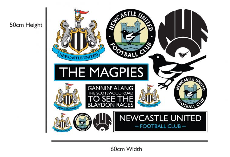 Newcastle united football club personalised ball crest and name mural toons wall sticker set