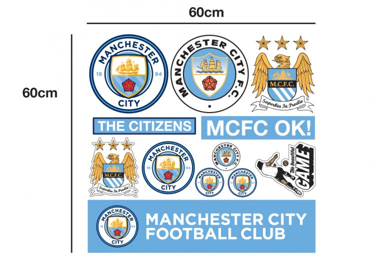Manchester city football club personalised ball and name bonus wall sticker set