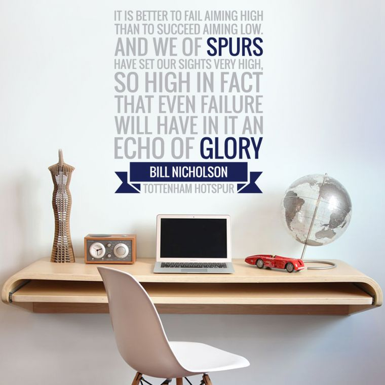 The official home of football wall stickers tottenham hotspur football club echo of glory quote wall sticker vinyl the beautiful game