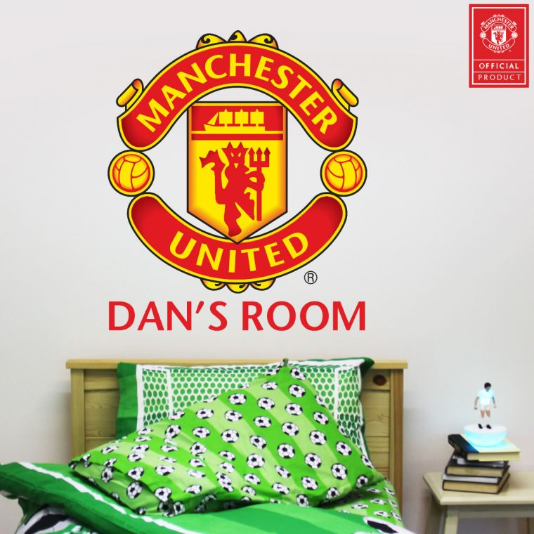brand new 3a093 207ef Official Licensed Football   Entertainment Wall Stickers - Manchester United  Football Club Personalised Name Crest Wall Sticker - The Beautiful Game