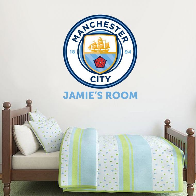The official home of football wall stickers manchester city football club personalised name with crest man city crest wall sticker set the beautiful game