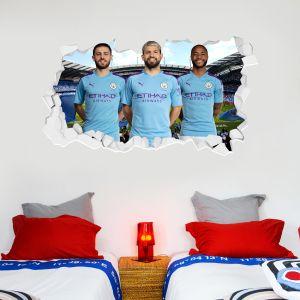 Manchester City Football Club - Attacking Trio Smashed Wall Mural + Bonus Wall Sticker Set